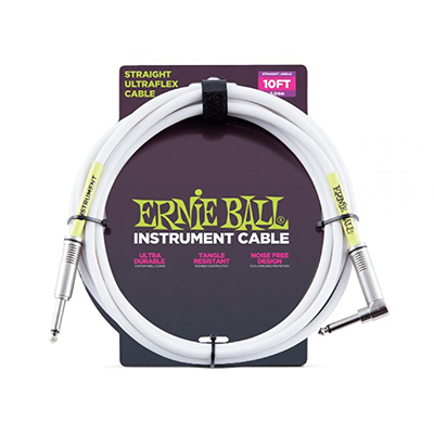 Ernie Ball 6049 Ultraflex 10' Straight/Angle Instrument Cable, White