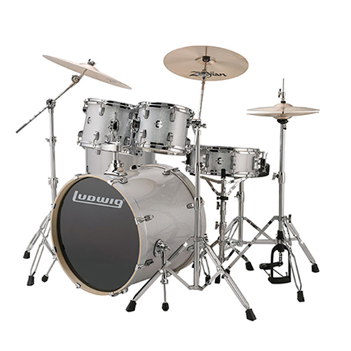 "Ludwig LCEE20028 Evolution Outfit 20"" w/ Hardware  - Silver/White Sparkle"
