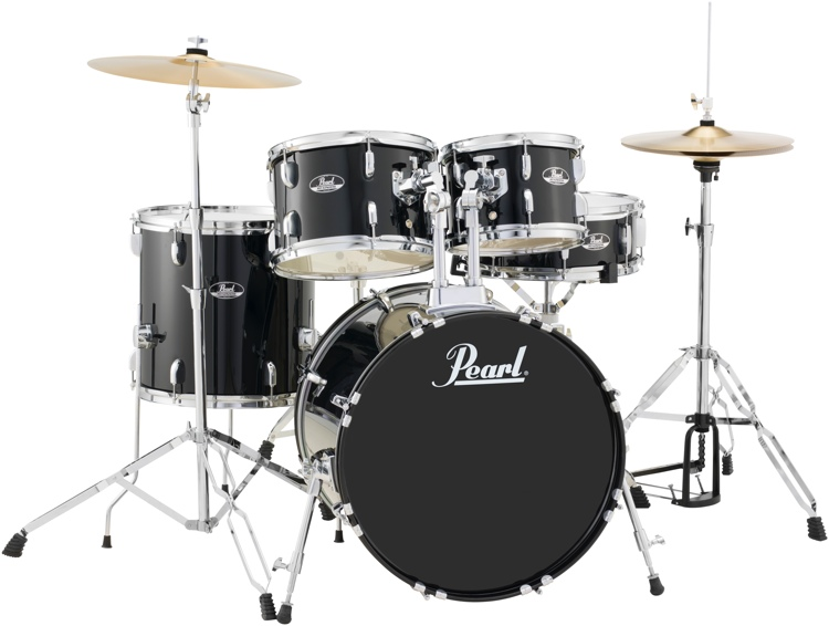 Pearl Roadshow RS525SCC31 5-Piece Drum Set, Jet Black