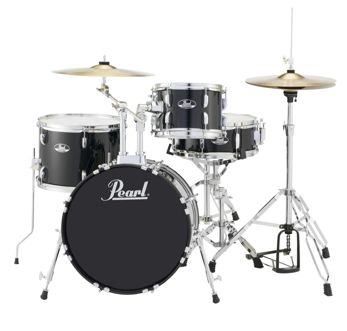 Pearl Roadshow 4-piece Complete Drum Set with Cymbals - Black
